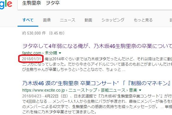 公開日のときの検索エンジン表記